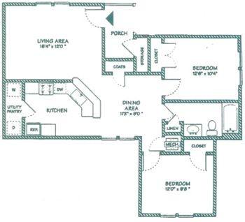 890 sq. ft. B floor plan