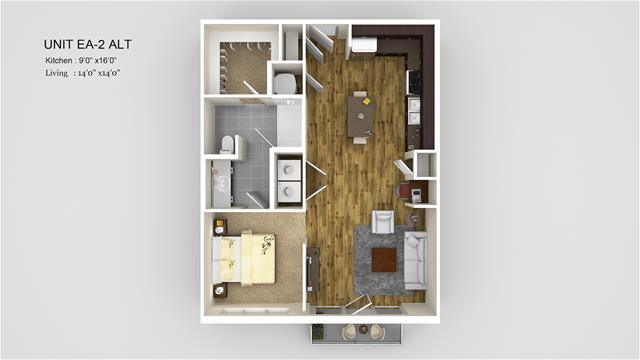 720 sq. ft. EA2-Alt floor plan