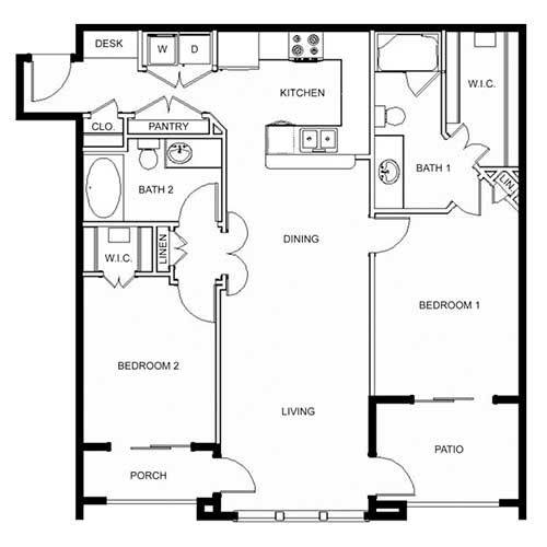 1,098 sq. ft. 60% floor plan