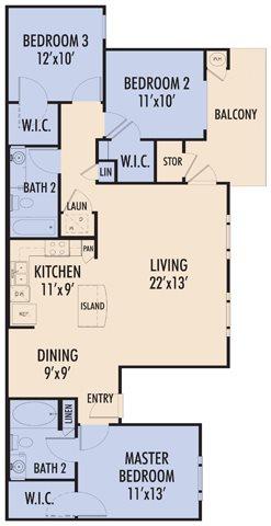 1,163 sq. ft. VIVAR/60 floor plan