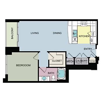 940 sq. ft. A floor plan