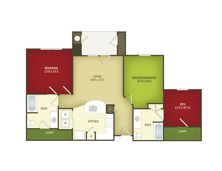 1,200 sq. ft. Fortune/60% floor plan