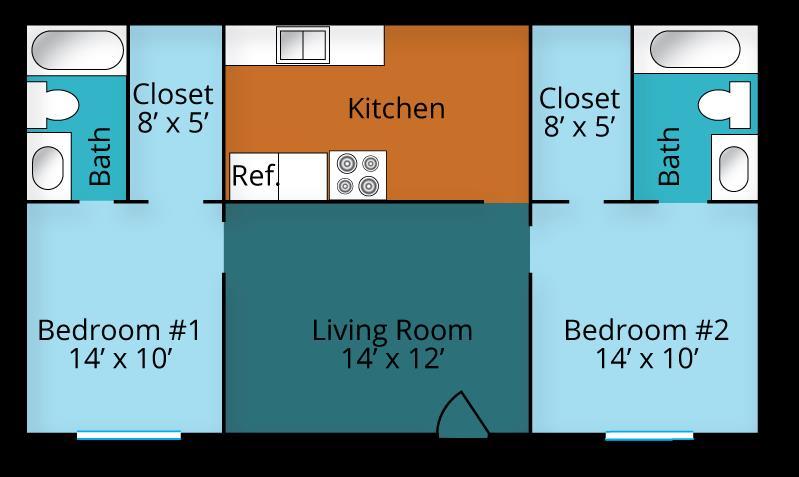 792 sq. ft. floor plan