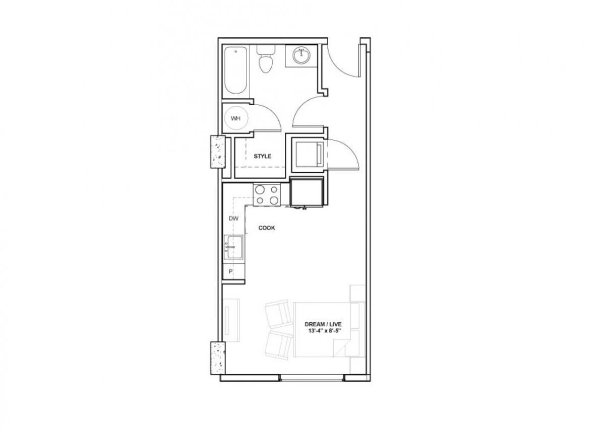 436 sq. ft. Ewing floor plan