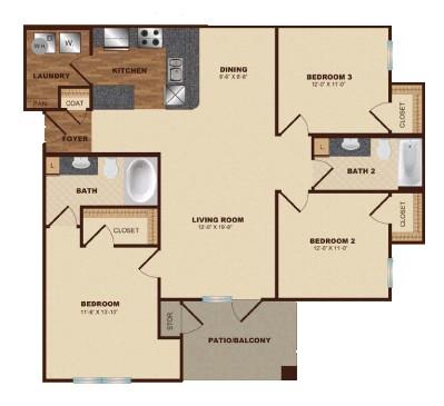 1,257 sq. ft. C1 floor plan