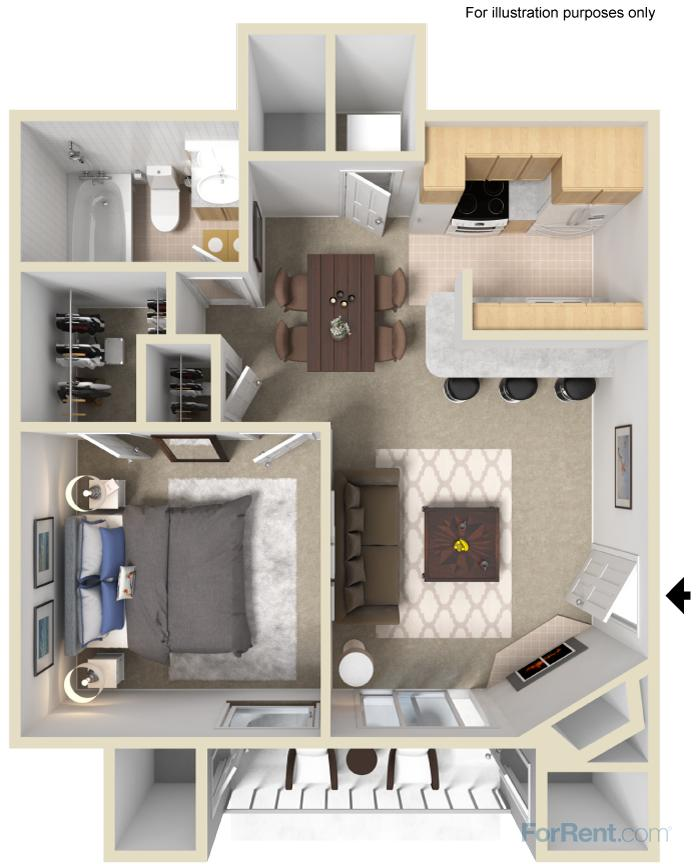 600 sq. ft. B floor plan