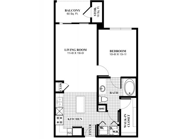 708 sq. ft. A11 floor plan