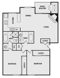 1,100 sq. ft. C floor plan
