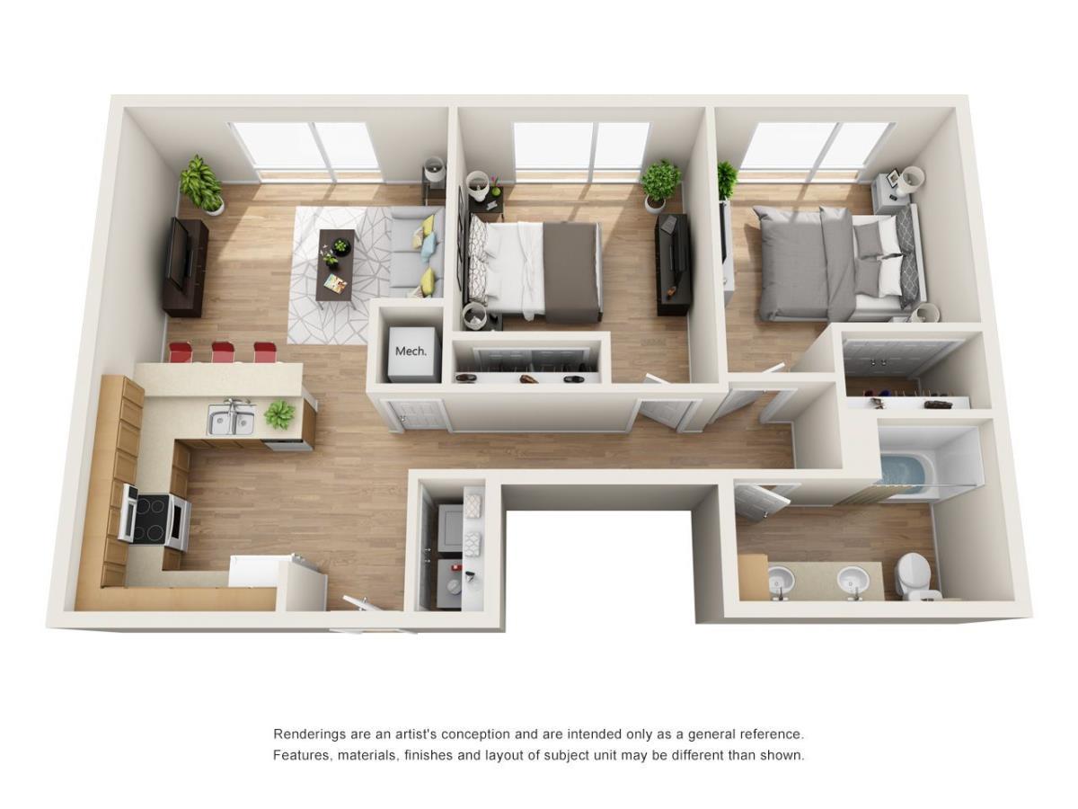 923 sq. ft. B5 floor plan