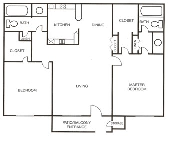 1,027 sq. ft. B floor plan