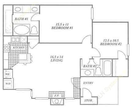960 sq. ft. 2B floor plan