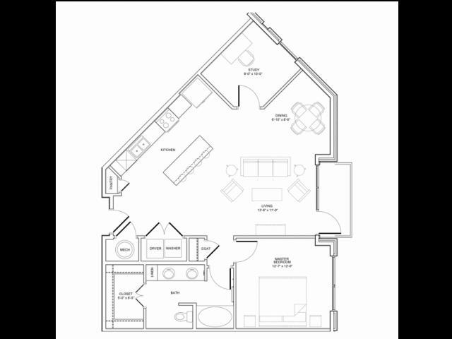 1,041 sq. ft. 1F floor plan