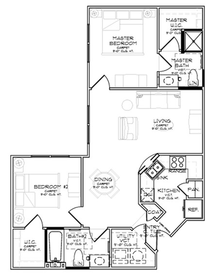 925 sq. ft. B2/60% floor plan