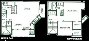 905 sq. ft. B2 floor plan
