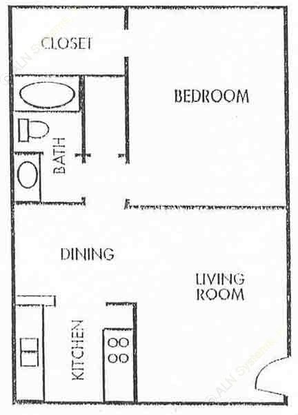 660 sq. ft. A3 floor plan