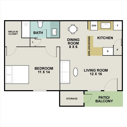 679 sq. ft. Aspen floor plan