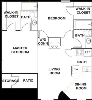890 sq. ft. B3 floor plan