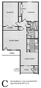 907 sq. ft. C floor plan