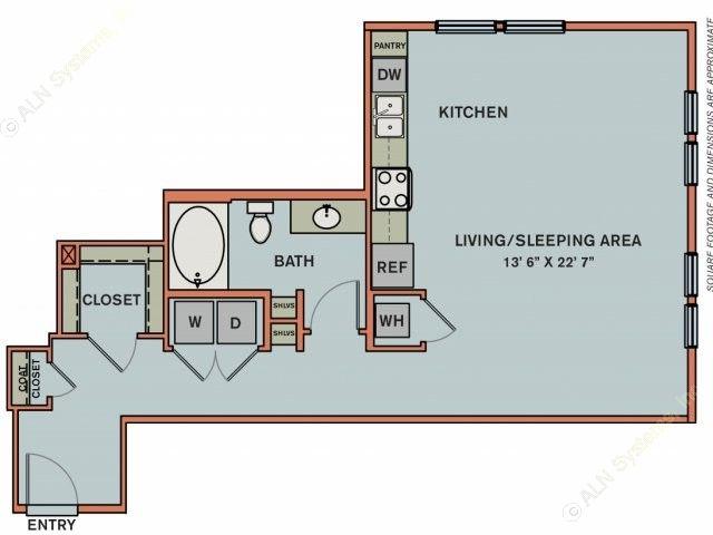 724 sq. ft. 3S2.1 floor plan
