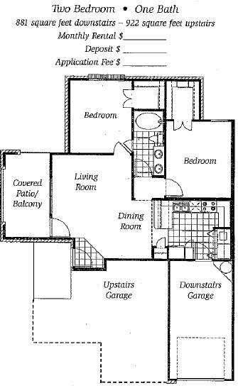 881 sq. ft. to 922 sq. ft. Mkt floor plan