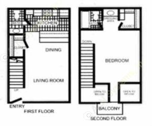 800 sq. ft. Cranford - A4 TH floor plan