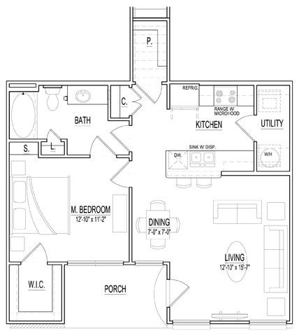 756 sq. ft. Monet floor plan