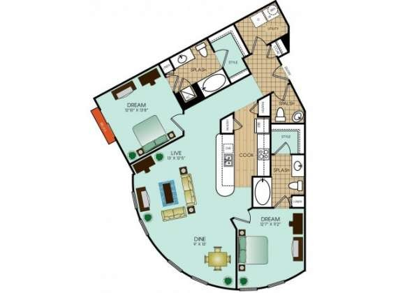 1,301 sq. ft. B16 floor plan