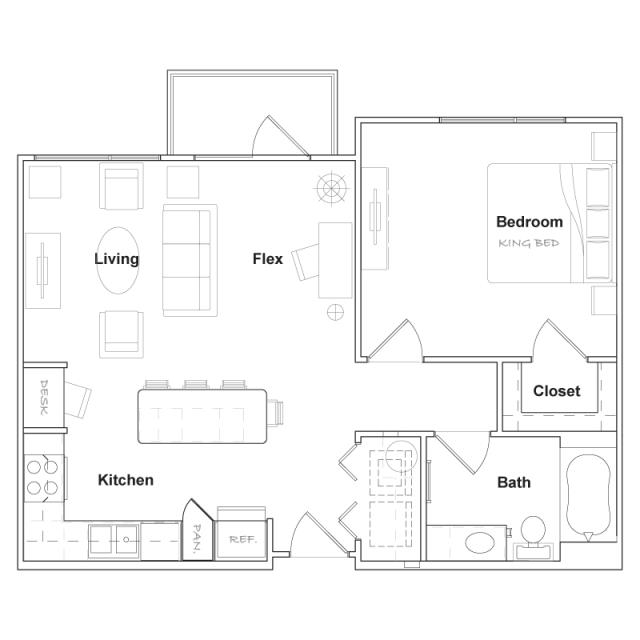 737 sq. ft. A3-A floor plan