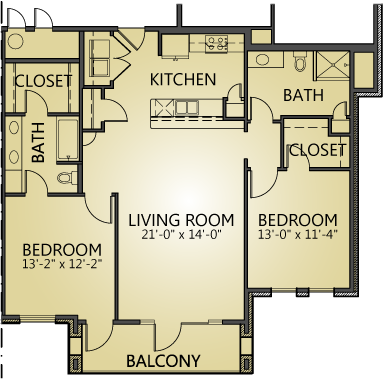 1,233 sq. ft. to 1,278 sq. ft. B2 floor plan