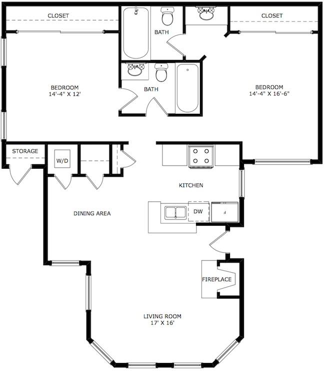 893 sq. ft. Belmont floor plan