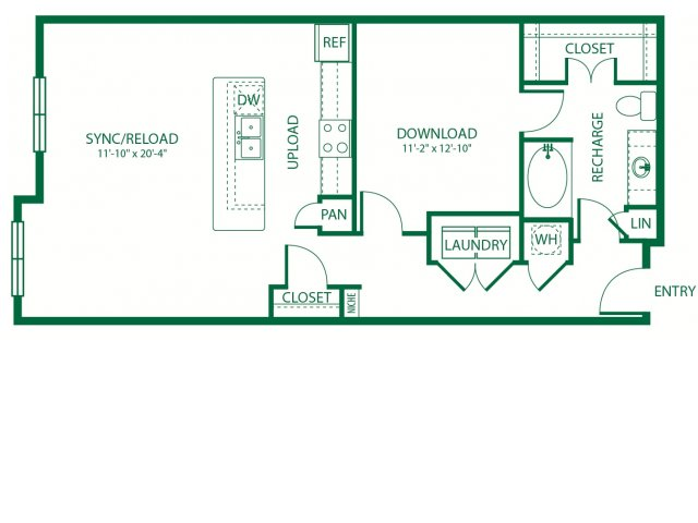 907 sq. ft. L1A Analog floor plan