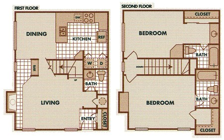 1,063 sq. ft. B2-TH floor plan