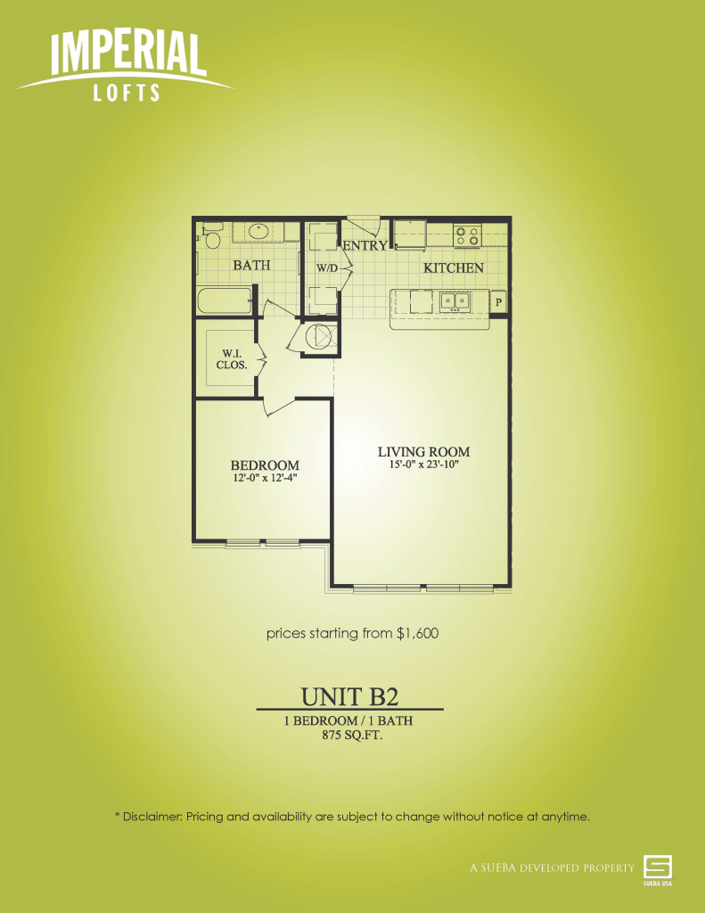 875 sq. ft. B2 floor plan