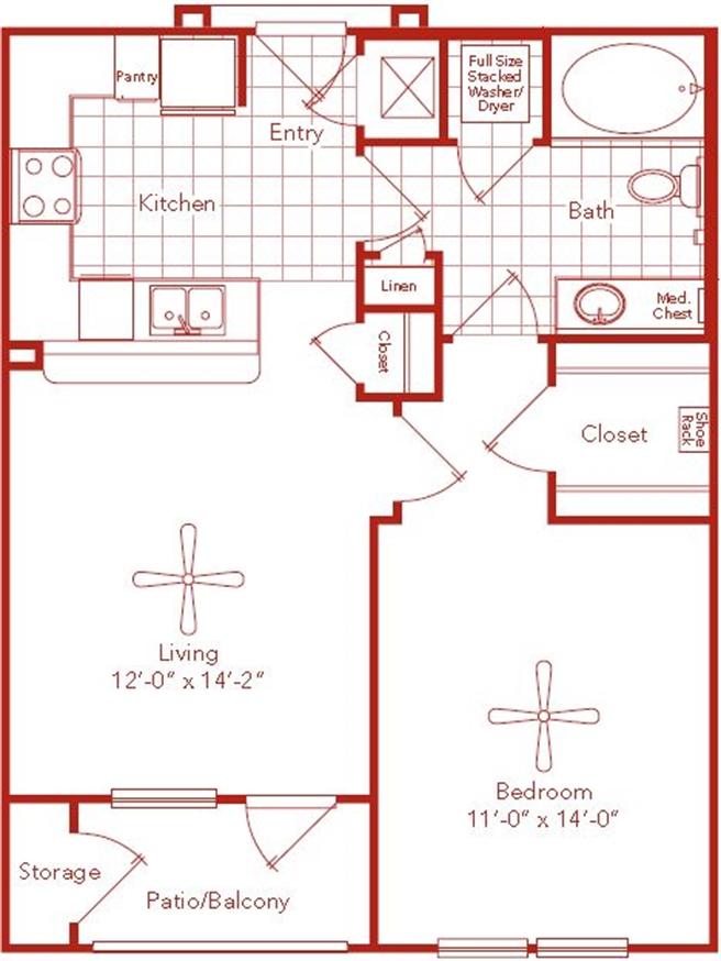 682 sq. ft. Holcombe floor plan