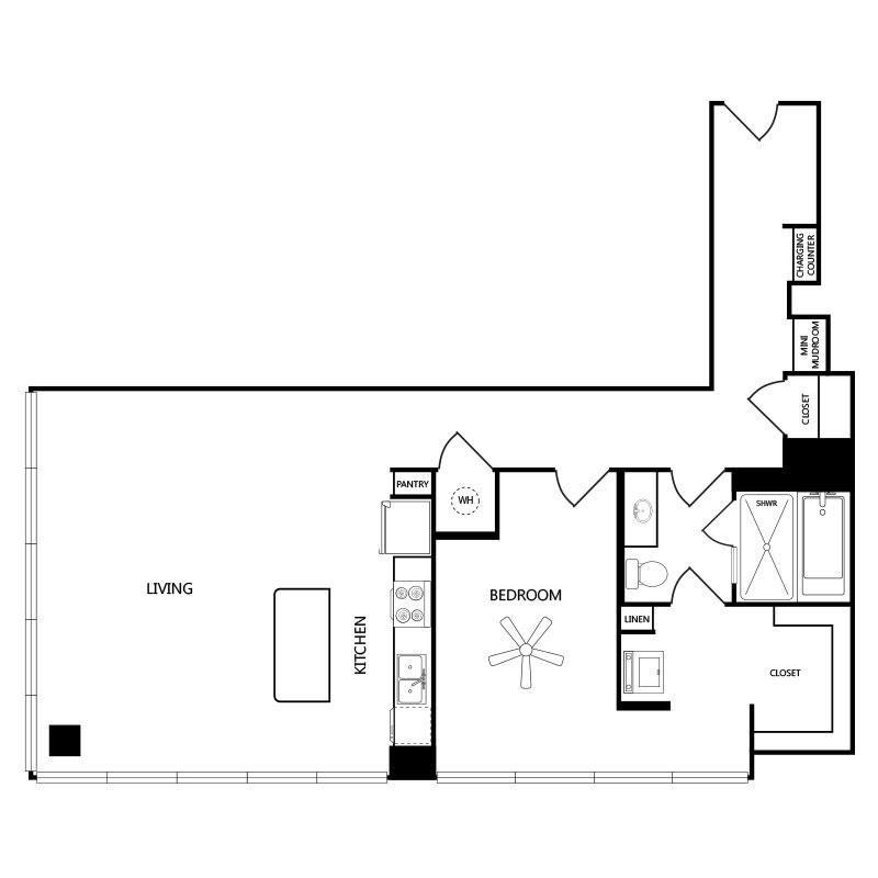 1,093 sq. ft. A6 floor plan