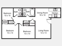 969 sq. ft. C1 floor plan