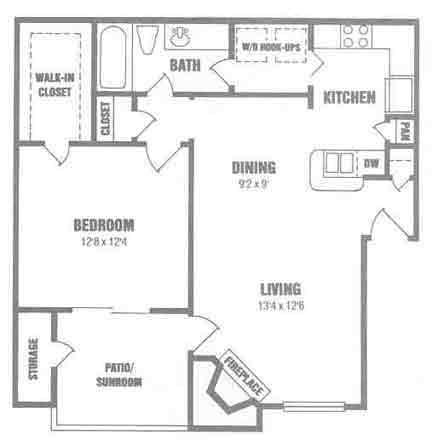 732 sq. ft. A3 floor plan