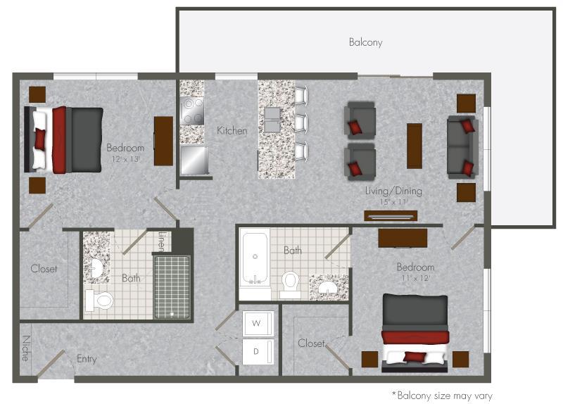 900 sq. ft. 2-X4 floor plan