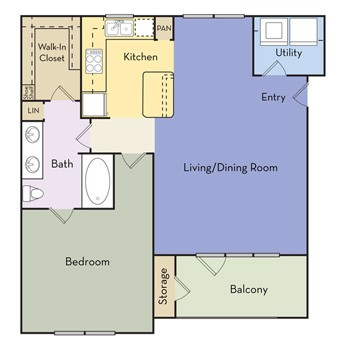 867 sq. ft. Mulberry (Modern) floor plan
