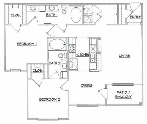 1,100 sq. ft. Plantation floor plan
