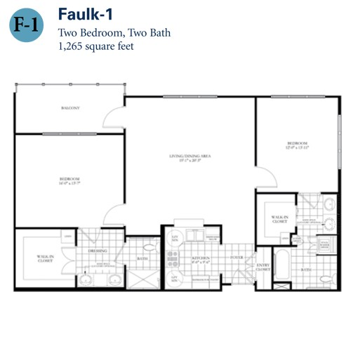 1,265 sq. ft. Faulk 1 floor plan