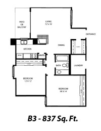 837 sq. ft. B3 floor plan