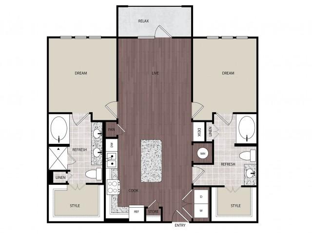 1,160 sq. ft. B2 floor plan