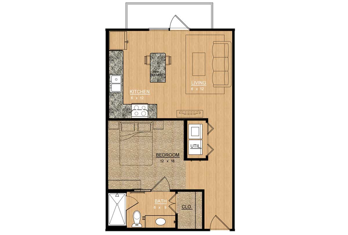 610 sq. ft. Rose floor plan