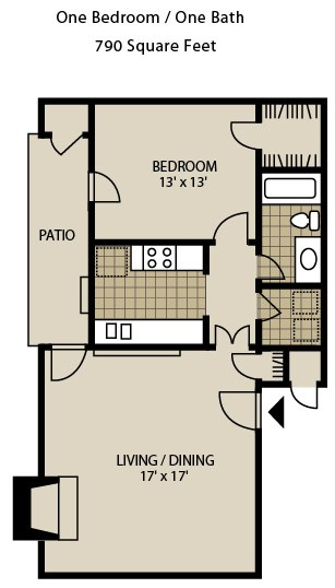 790 sq. ft. A3-A floor plan
