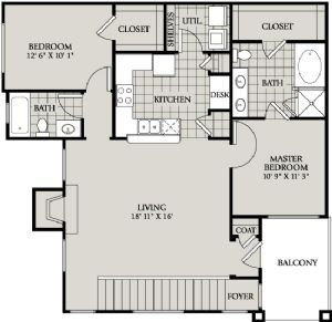 1,142 sq. ft. C4 floor plan