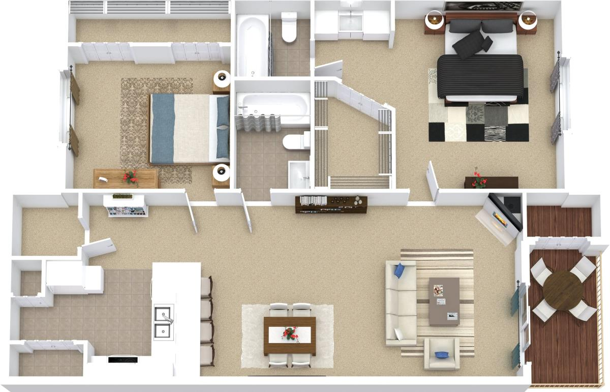 907 sq. ft. B4 floor plan