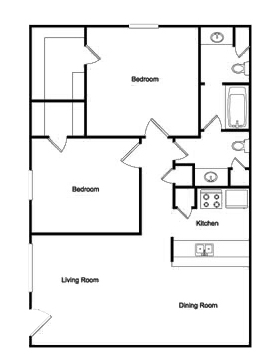 914 sq. ft. 2-1 floor plan