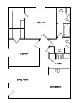 914 sq. ft. 2-1 floor plan
