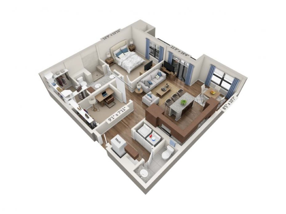 1,030 sq. ft. Vibrato floor plan